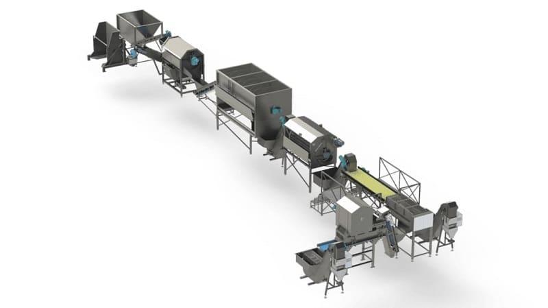 Voedselverwerkende machines in de aardappellijn